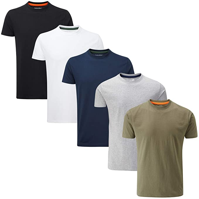 a51fd138ee97d Charles Wilson 5 Pack Plain Crew Neck T-Shirt  Amazon.co.uk  Clothing