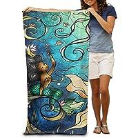 Mermaid Under The Sea Adults Cotton Beach Towel