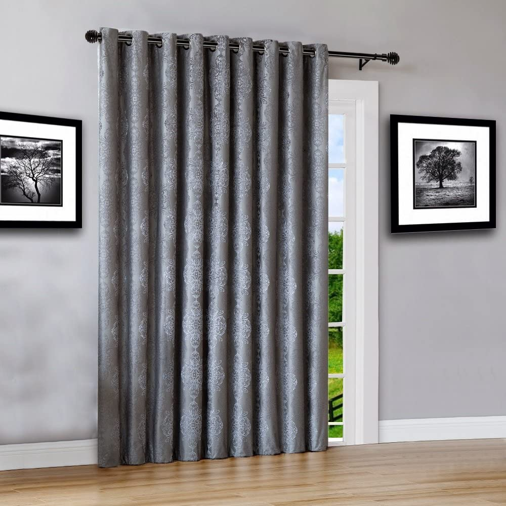 "WARM HOME DESIGNS Extra Wide 110"" x 84"" Charcoal 100% Blackout Insulated Thermal Patio Door Panel. Drapery Can Be Used As Room Breaker or Sliding Door Curtains. RO Charcoal 110 x 84"