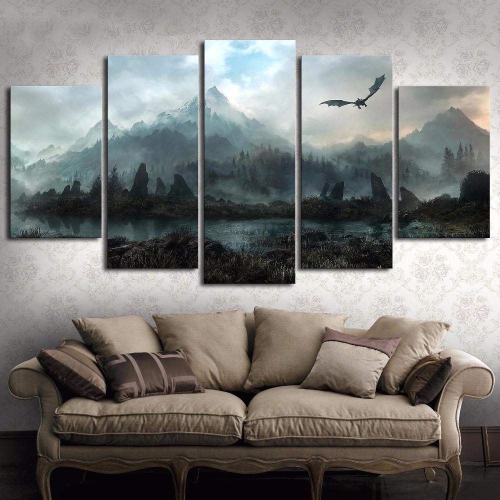 """Canvas Wall Art Pictures Home Decor 5 Pieces Game of Thrones Dragon Skyrim Paintings for Living Room Modular Prints Poster 60"""" W X 32"""" H Frameless"""