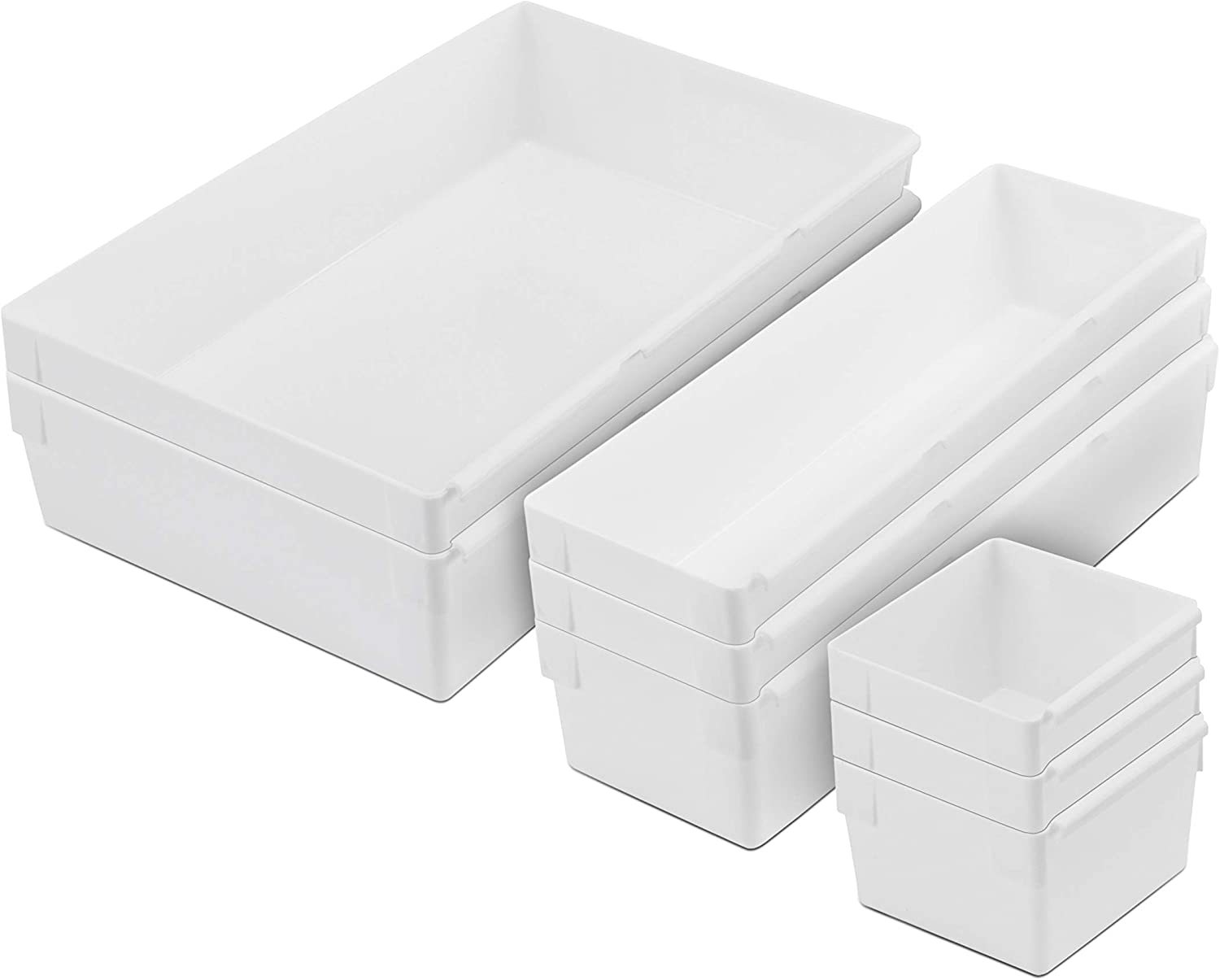 Rubbermaid Drawer Organizer Containers, Modular and Customizable, 48-Piece  Kitchen Organizer Set, White