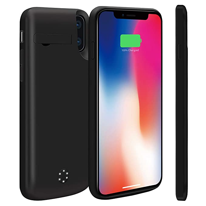 huge selection of f97ce fc82d NRO [Upgraded] iPhone X Charger Case 6000mAh Portable Rechargeable Extended  Battery Pack Protective Charging Case with Tempered Glass Screen Protector  ...