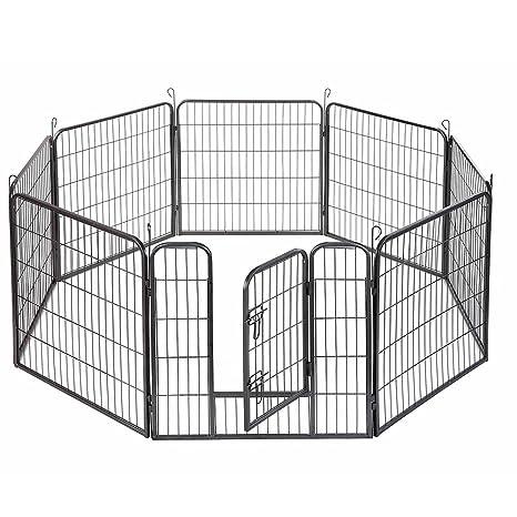 Tenozek - Valla para mascotas de 8 paneles, resistente, de metal, para ejercicio