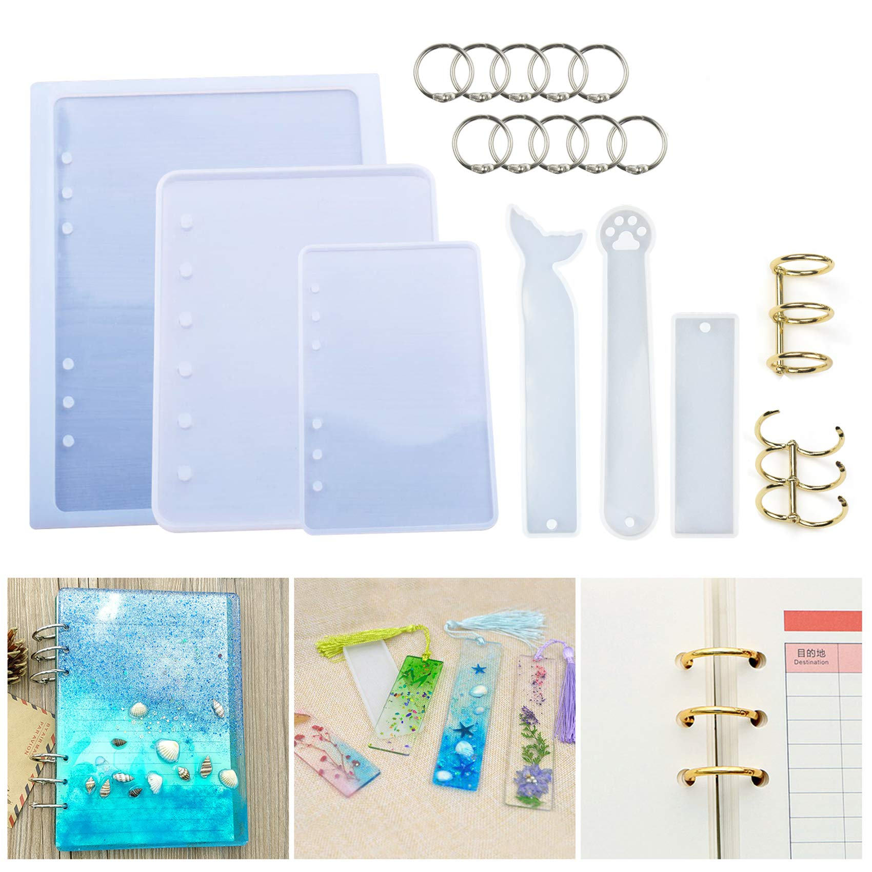 LET'S RESIN Resin Casting Molds for Notebook Cover A5 A6 A7, Silicone Bookmark Resin Molds 3PCS, Silicone Notebook Cover Clear Casting Epoxy Resin Molds with 14PCS Book Rings