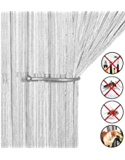 Cortina retro lisa con flecos para puerta protectora contra insectos, moscas, para divisor puertas o ventanas, cortina panel 90x 200cm, mosquitero