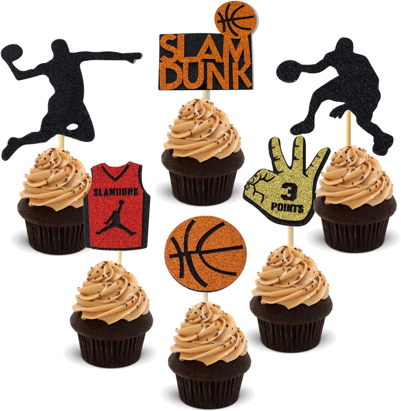 24PCS Basketball Cupcake Toppers Basketball Player Slam Dunk Decoration Fruit Food Dessert Favor Black Glitter Cake Toppers Picks for Gold Basketball Sport Birthday Theme Party