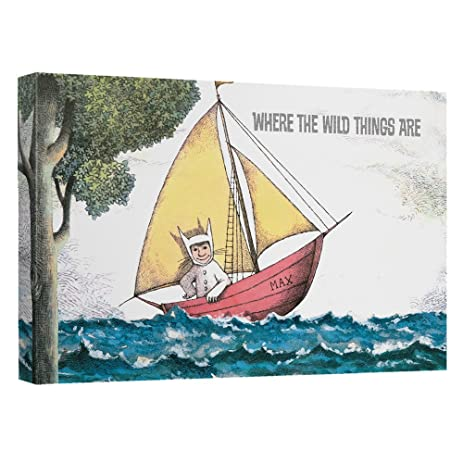 Amazon where the wild things are maxs boat canvas wall art where the wild things are maxs boat canvas wall art with back board 8x12 white sciox Gallery