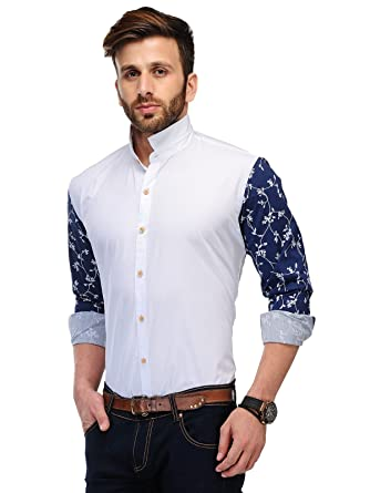 Edjoe Men's White With Printed Sleeves Slim Fit Casual/Party Wear ...