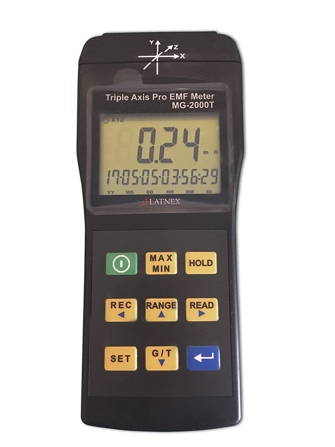 EMI Magnetic field gauss Meter detector MG-2000T Triple Axis Professional use Magnetic Interference from MRI Machines Industrial and Medical Equipment Power Lines Appliances EMF inspections