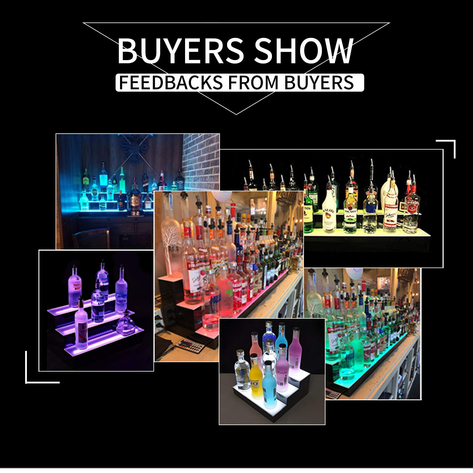 SUNCOO LED Lighted Liquor Bottle Display 60'' 3 Step Illuminated Bottle Shelf 3 Tier Home Bar Bottle Shelf Drinks Lighting Shelves with Remote Control by SUNCOO (Image #5)