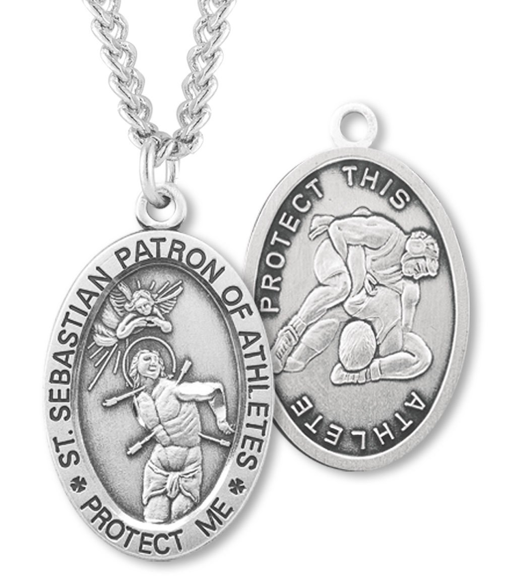 Men's Sterling Silver Oval Saint Sebastian Wrestling Medal + 24 Inch Endless Rhodium Plated Chain by Heartland Store