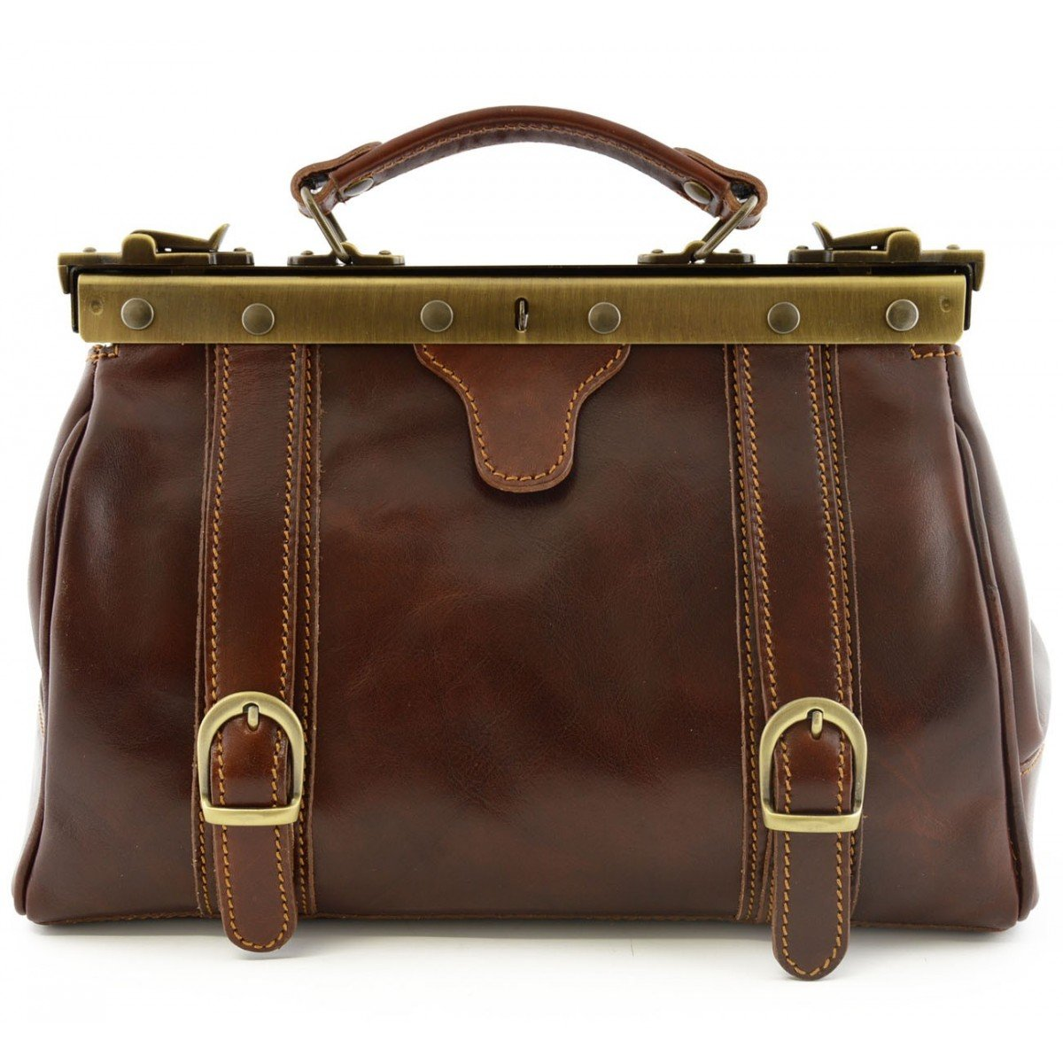 Made In Italy Genuine Leather Doctor Bag, 2 Front Buckles Color Brown - Business Bag   B015II6EDU