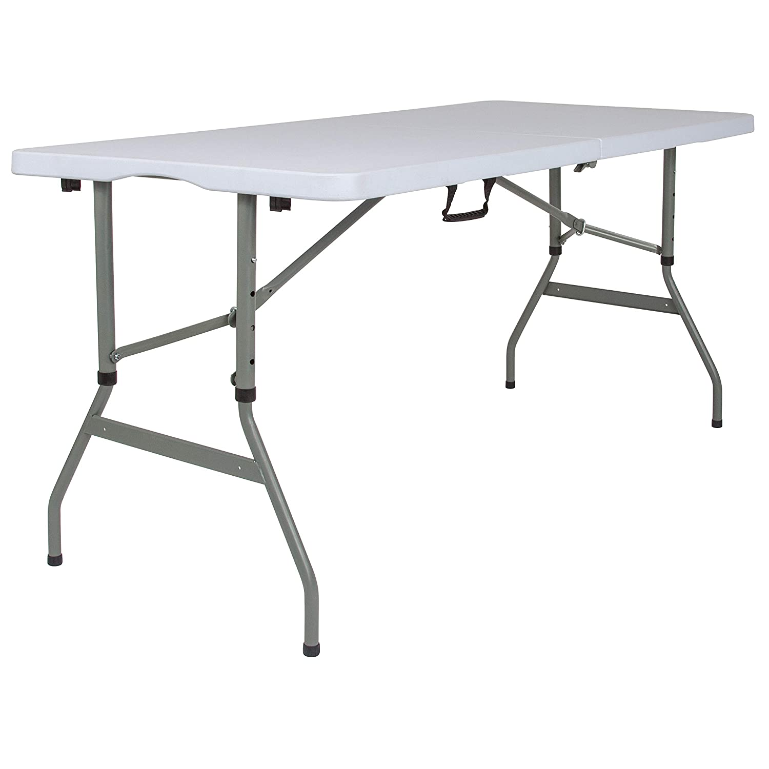 Flash Furniture 5-Foot Height Adjustable Bi-Fold Granite White Plastic Banquet and Event Folding Table with Carrying Handle