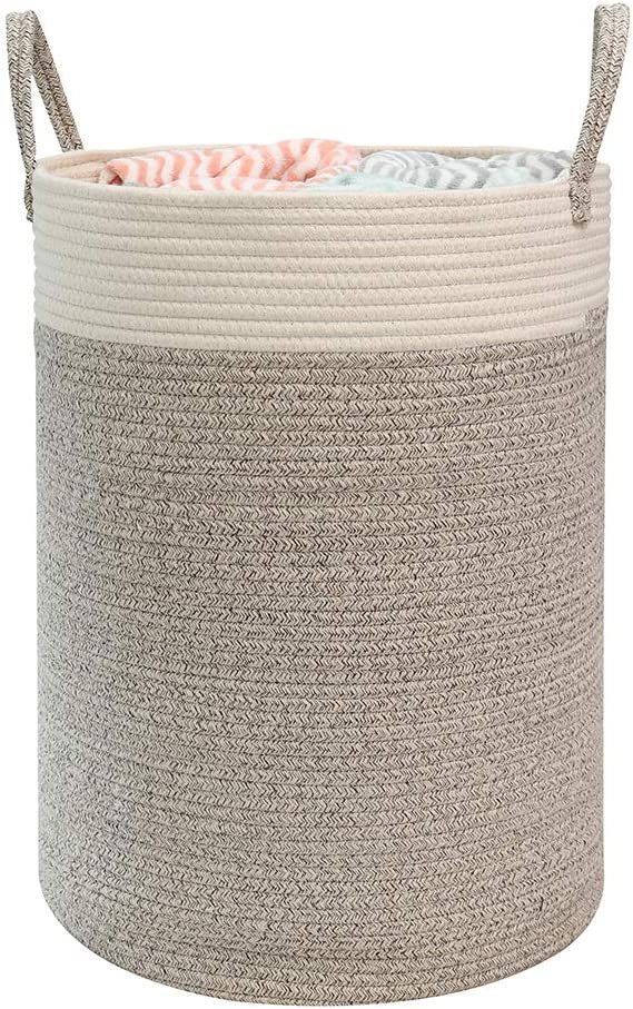 """Hlryudo Large Cotton Rope Basket 15.7"""" x 15.7"""" x 21.7"""" Baby Laundry Basket, Woven Storage Baskets, Nursery Hamper with Handle (Beige/Brown)"""