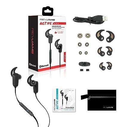 RevJams Active Pro inalámbrico auriculares, IPX4 A prueba de sudor inalámbrico Bluetooth auriculares, activa en oreja Auriculares, cancelación de ruido y ...