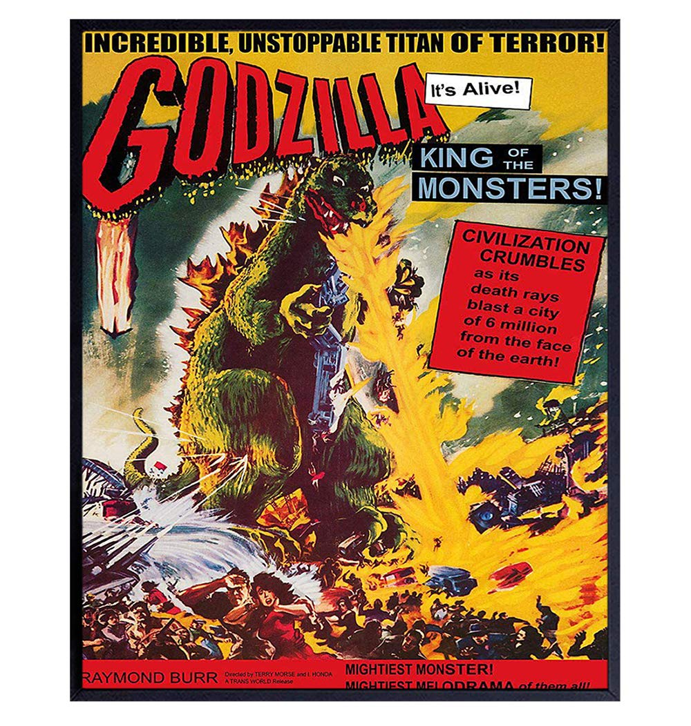 Godzilla - 8x10 Vintage Hollywood Horror Movie Poster Wall Art Print - Creepy Classic Scary Movie Home Decor Picture for Man Cave, Boys Bedroom, Teens Room - Gift for Men