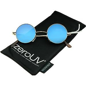 b8d891e0a1 Small Retro Lennon Inspired Style Colored Mirror Lens Round Metal Sunglasses  41mm