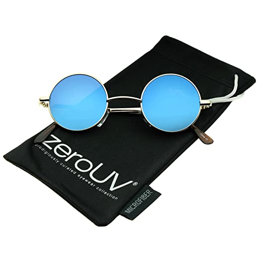 801abb89f2 Small Retro Lennon Inspired Style Colored Mirror Lens Round Metal Sunglasses  41mm (Gold Blue