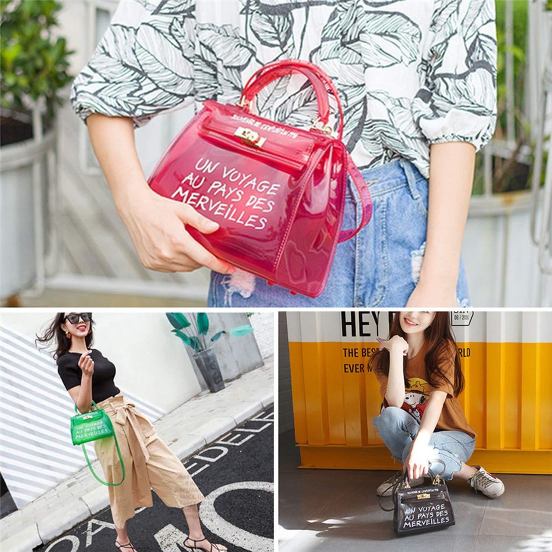 Pretty-GENTLE Alphabet Jelly Bag Messenger Handbag Crossbody Plastic Bag with Handles,Red,Large Bag-25X10X18Cm