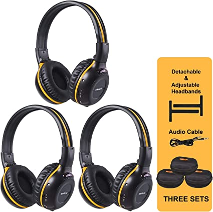 Amazon Com Simolio 3 Pack Of Wireless Car Headphones With Carrying Cases Ir Wireless Headphones For Kids Car Dvd Headphones With Aux Cord Share Port 2 Channel Ir Headsets Not Work On 2017
