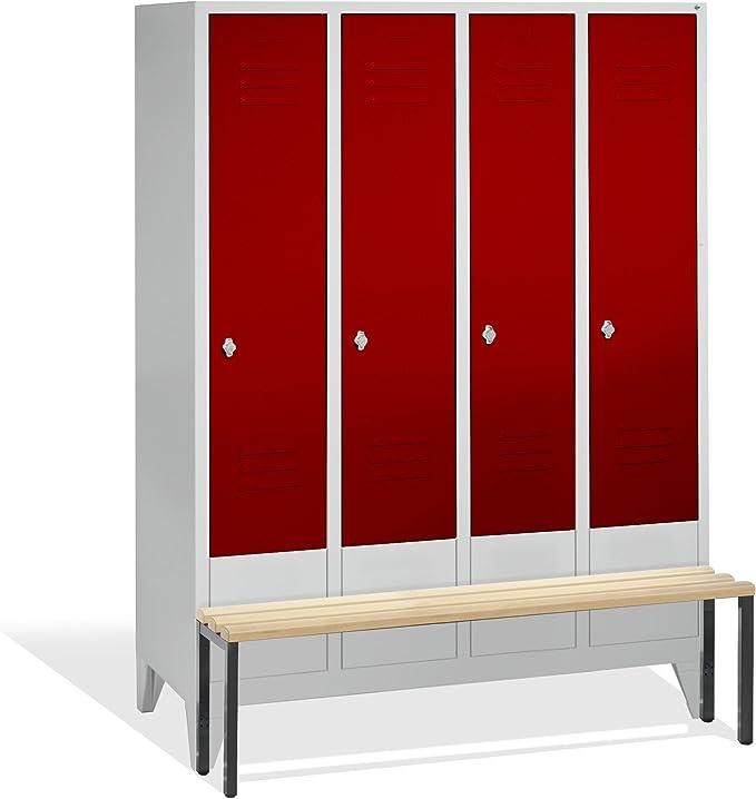 Vestuario taquilla Classic con asiento Banco, 4 columnas, H1850 X ...