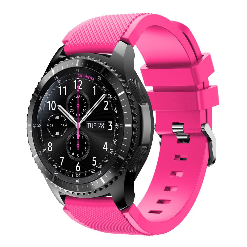 Flurries Sports Silicone Bracelet Strap Band for Samsung Gear S3 Frontier,Contracted Design Style Watchband (Pink)
