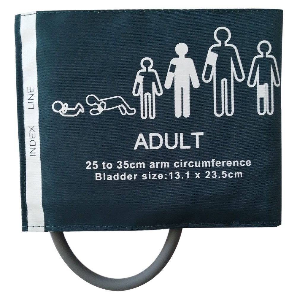 NIBP Single Tube with Bladder Reusable Adult Blood Pressure Cuff 25-35 cm Arm Circumference for Blood Pressure Monitor.