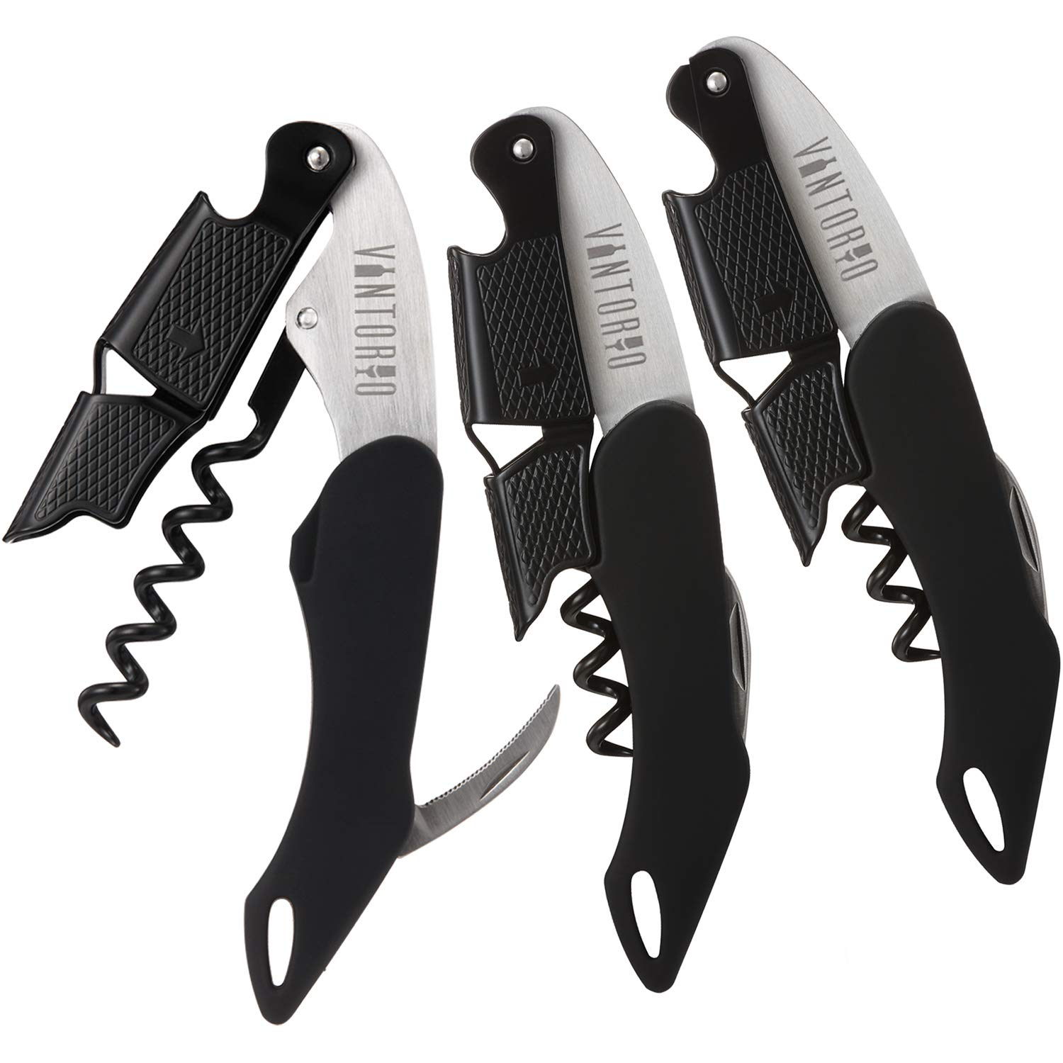 Vintorio Professional Waiters Corkscrew - Wine Key with Ergonomic Rubber Grip, Beer Bottle Opener and Foil Cutter (3 Pack)