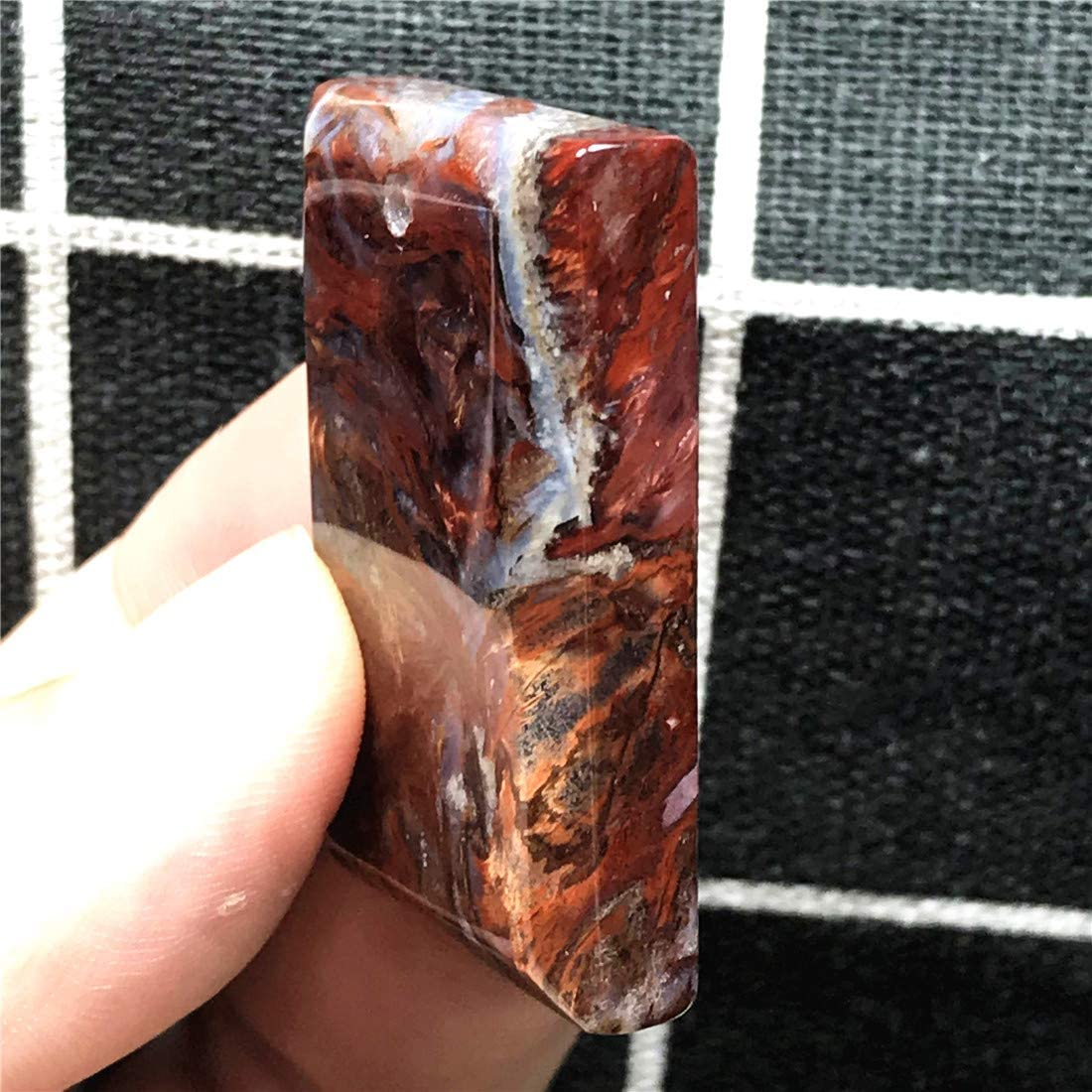 DUOVEKT Natural Pietersite Pendant,Yellow Red Pietersite Jewelry for Woman Man 38x25x7mm Rectangle Beads Silver Namibia Firework Energy Stone AAAAA