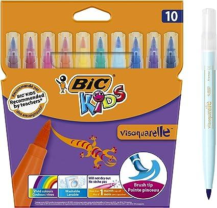 BIC Kids Visaquarelle - Pack de 10 rotuladores con punta de pincel ...