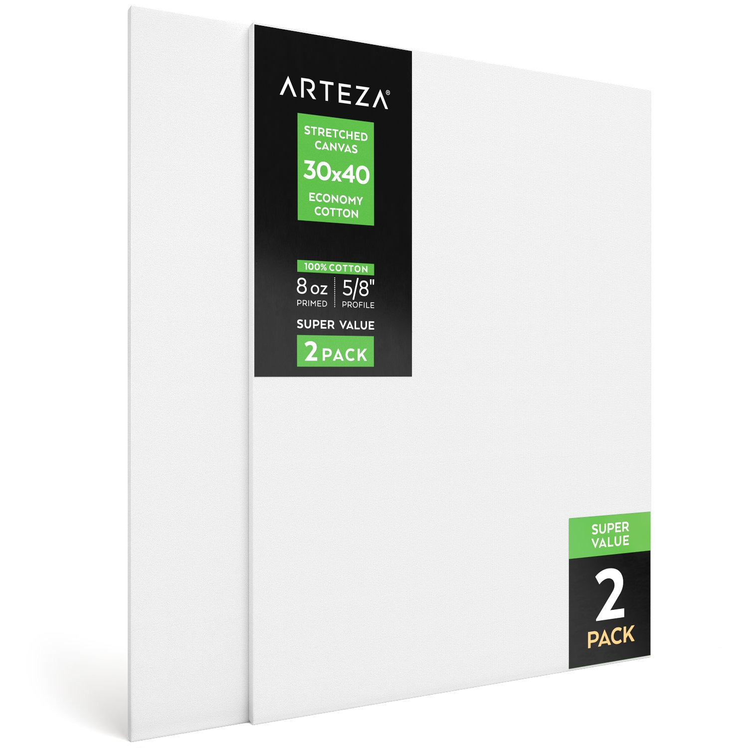 """Arteza 30x40"""" Stretched White Blank Canvas, Bulk Pack of 2, Primed, 100% Cotton for Painting, Acrylic Pouring, Oil Paint & Wet Art Media, Canvases for Professional Artist, Hobby Painters & Beginner"""