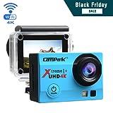 Campark 4K Action Cam WIFI Sport Action Camera Full HD 16MP 170° Grandangolare 2.0 Pollici (Custodia Professionale + Batteria di Ricambio)(Blu)