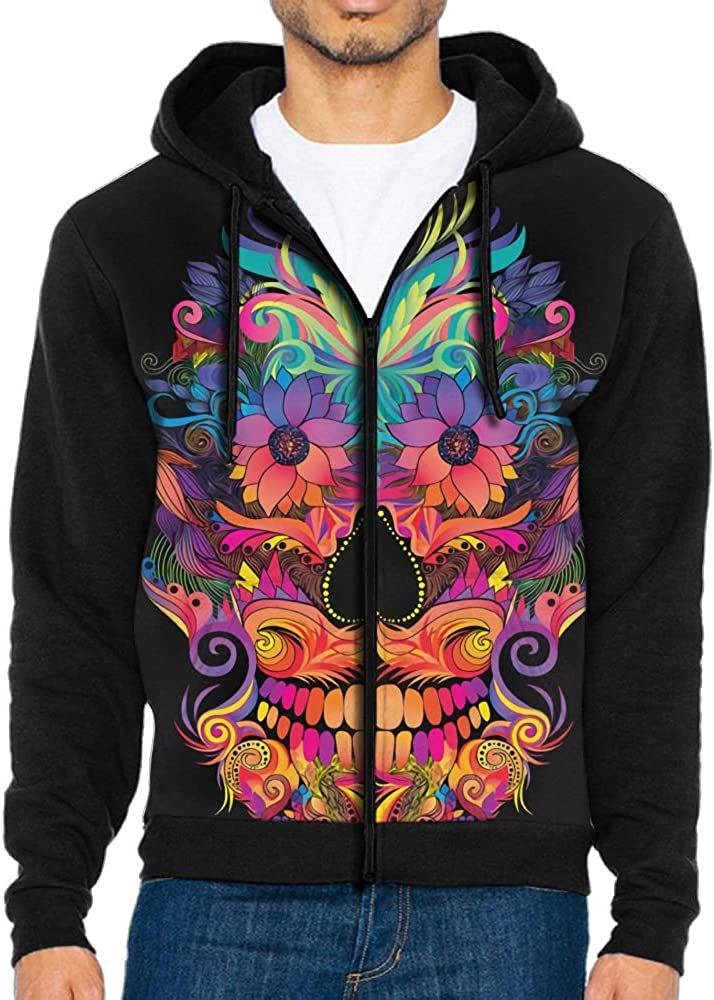 Hoodies Sweaters Men Long Sleeve Flower Skull Printed Pullover Hooded Sweatshirt With Pockets