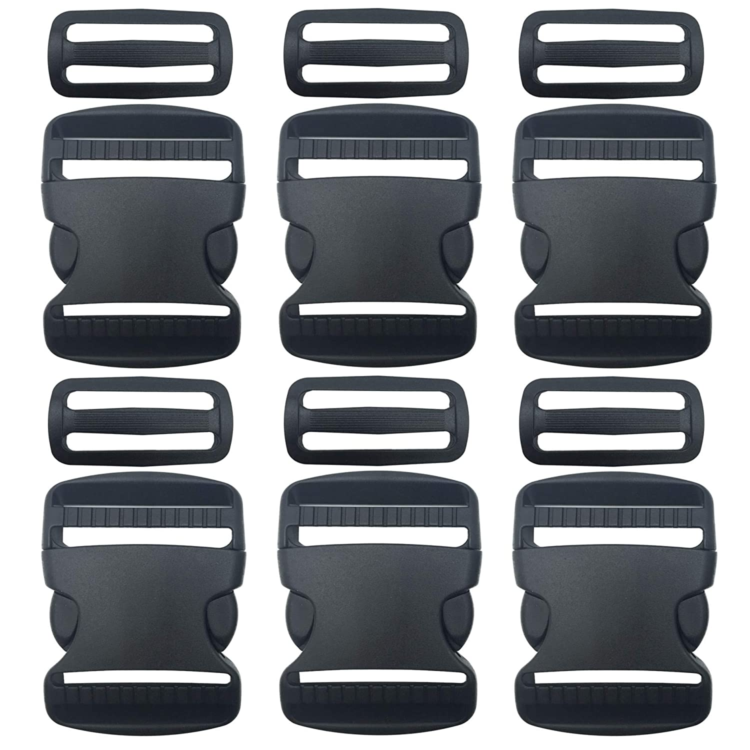 Black 10 Set 1 Inch Flat Dual Adjustable Plastic Side Release Plastic Buckles and Tri-Glide Slides Quick Side Release Buckle for Luggage Straps Pet Collar Backpack Repairing
