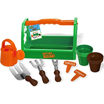Nature Bound Toys Kids Garden Tool Set with Planters, Water Bucket, Rakes, Caddy, 9Piece Set: Toys & Games