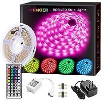 MINGER LED Strip Lights 16.4ft, RGB Color Changing LED Lights for Home, Kitchen, Room, Bedroom, Dorm Room, Bar, with IR…