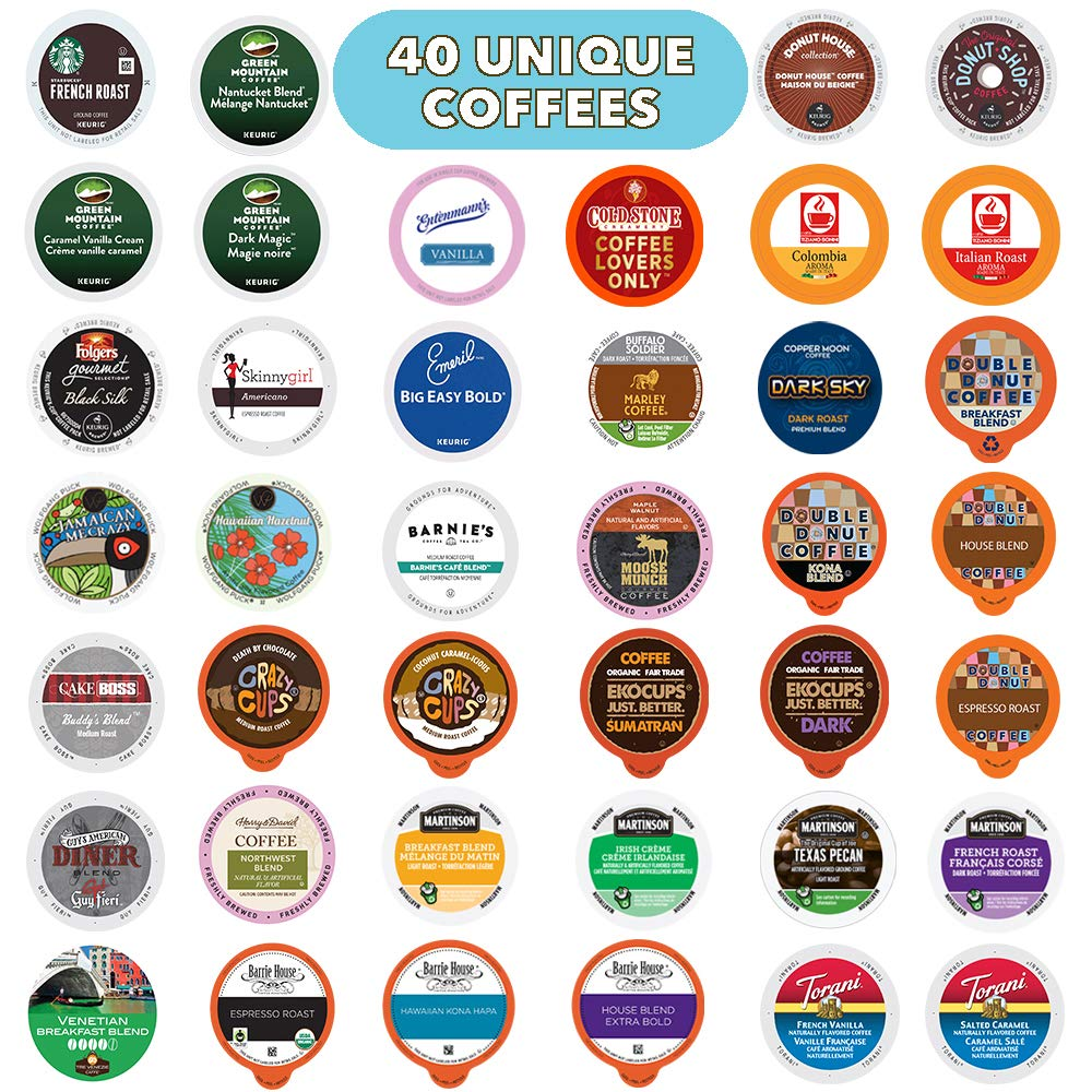 Coffee Pods Variety Pack Sampler, Assorted Single Serve Coffee for Keurig K Cups Coffee Makers, 40 Unique Cups - No Duplicates, Great Coffee Gift 71OW3kepPSL