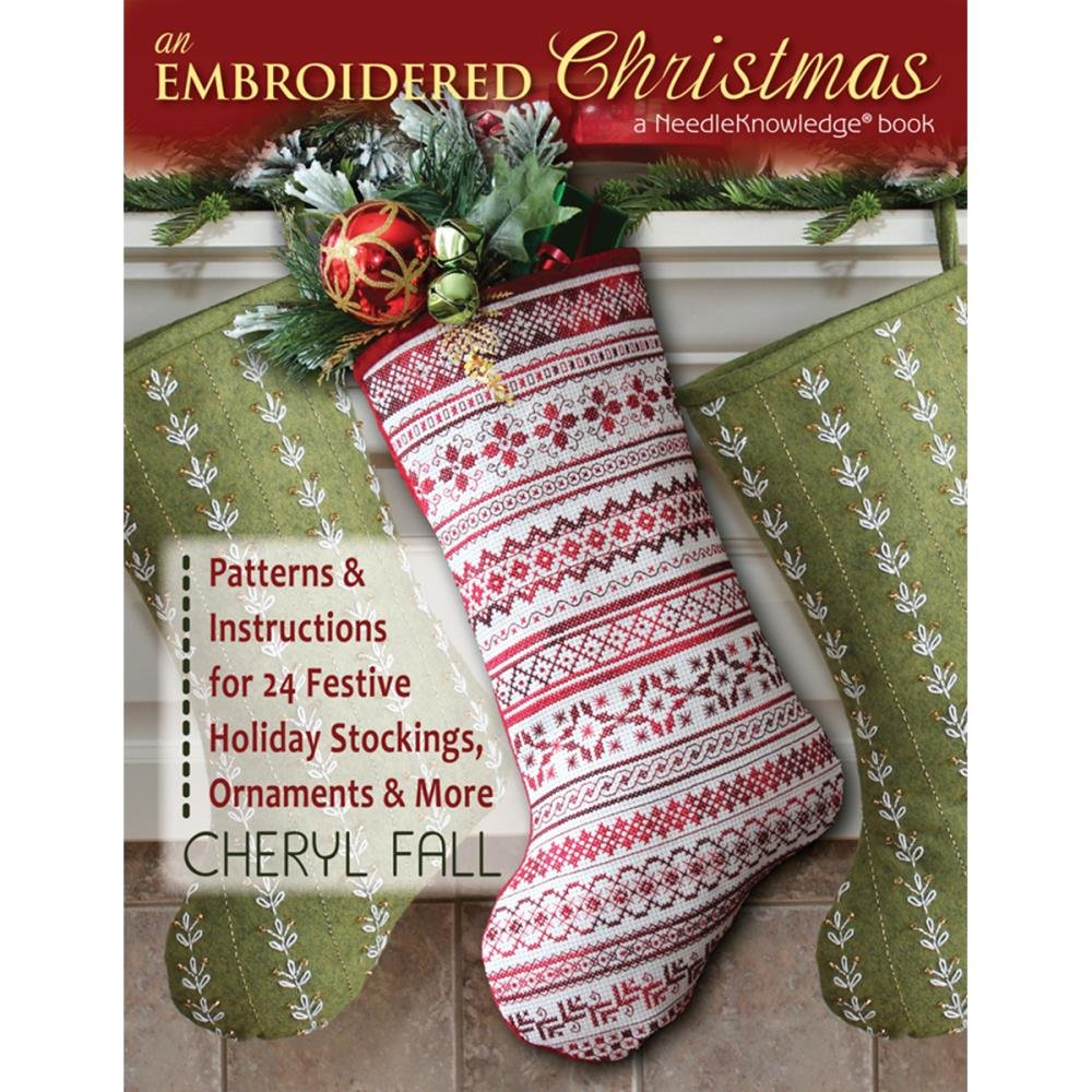 Embroidered Christmas Stockings.An Embroidered Christmas Patterns Instructions For 24