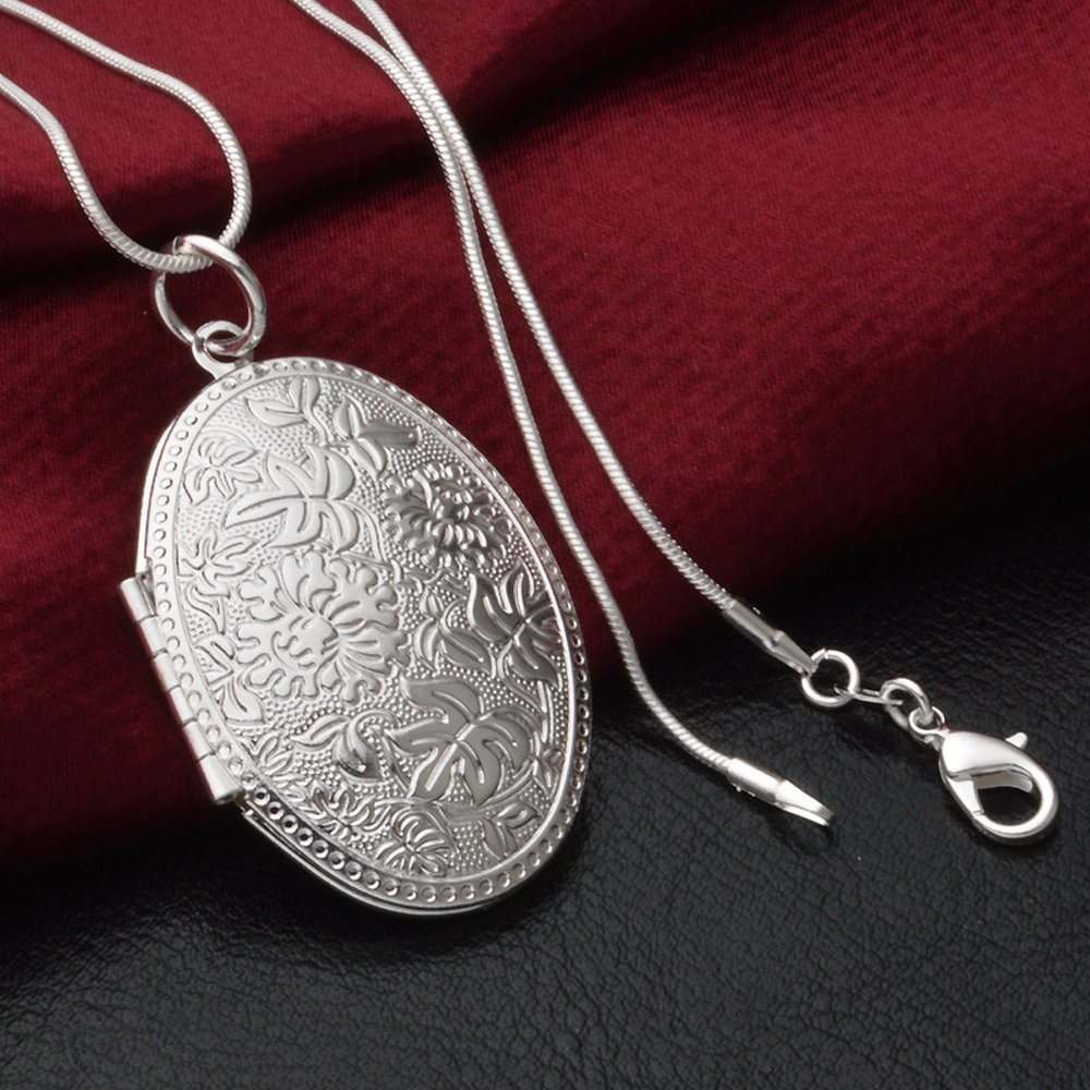 Winters Secret Fashion Silver Plated Vintage Pattern Open Pendant Locket Necklace with Snake Chain