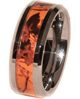 orange camouflage band ring by southern designs 1 year warranty blaze camo from - Orange Camo Wedding Rings