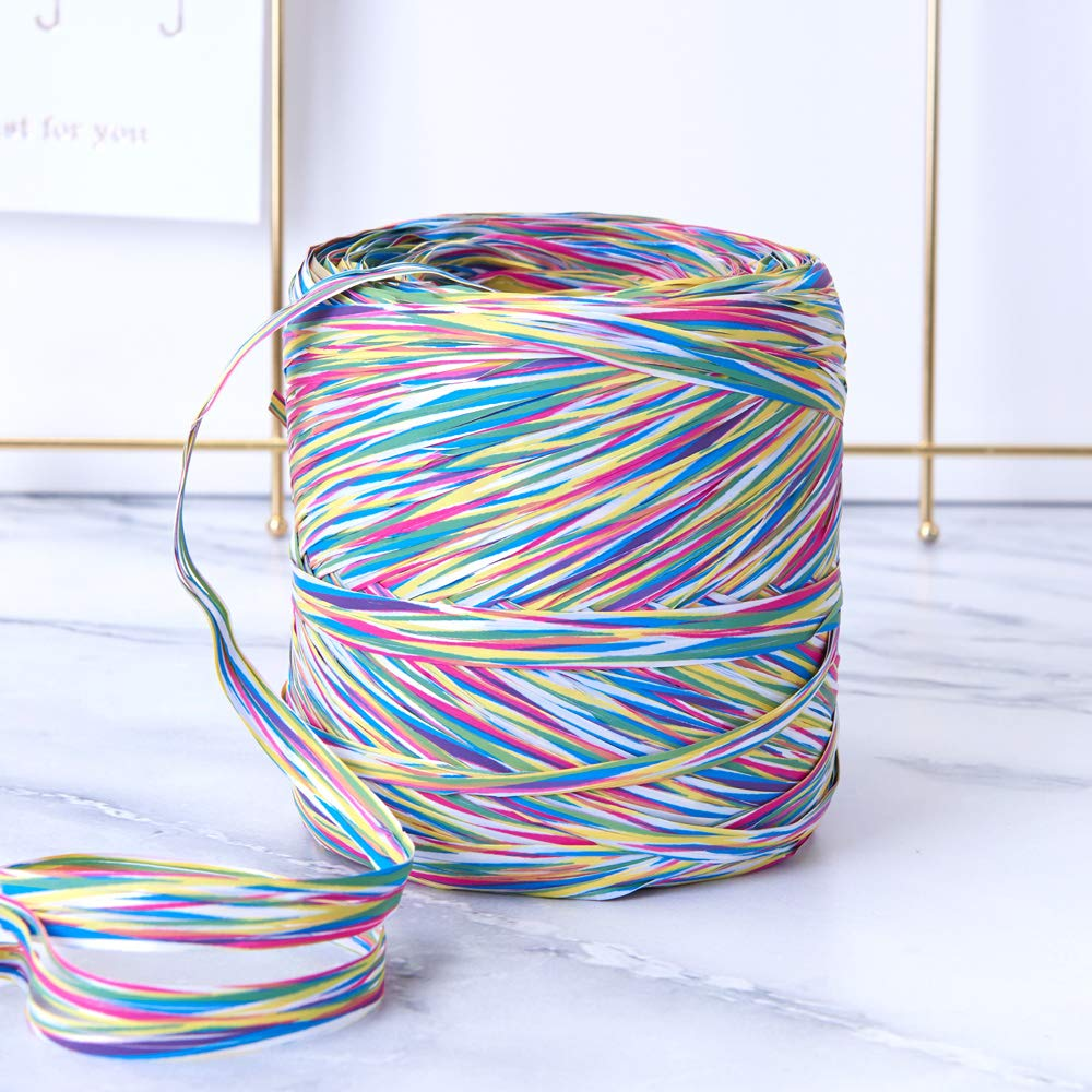 Rainbow Colored Paper Raffia, 200 Meters / 218 Yards by Funbou