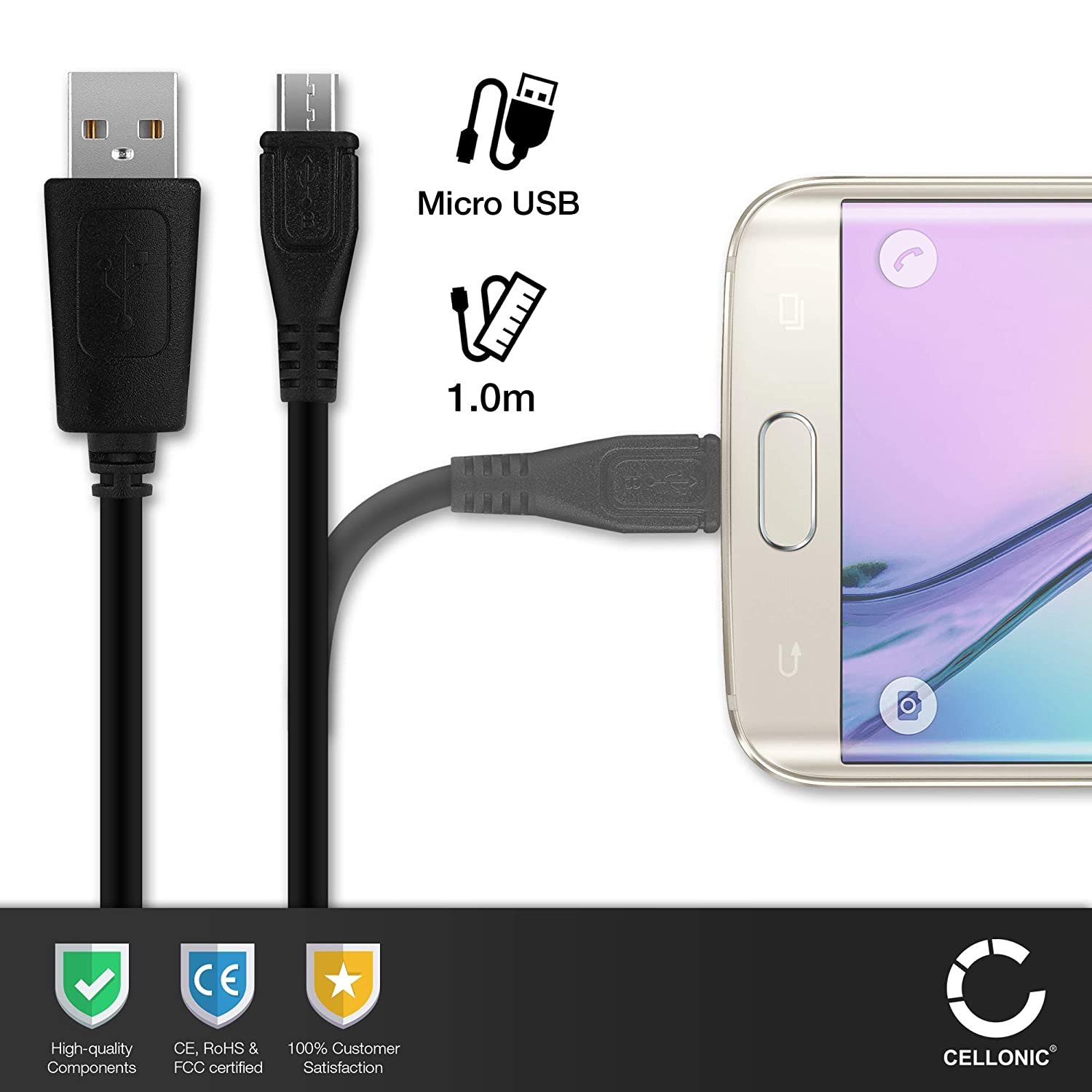 Micro USB a USB A 1m Compatible con Acer Iconia A1 // A3 // B1 // One 7 // One 8 // One 10 // Tab 7 // Tab 8 // Tab 10 // W1 // W4 Standard USB Cable de Carga Negro CELLONIC/® Cable USB dato