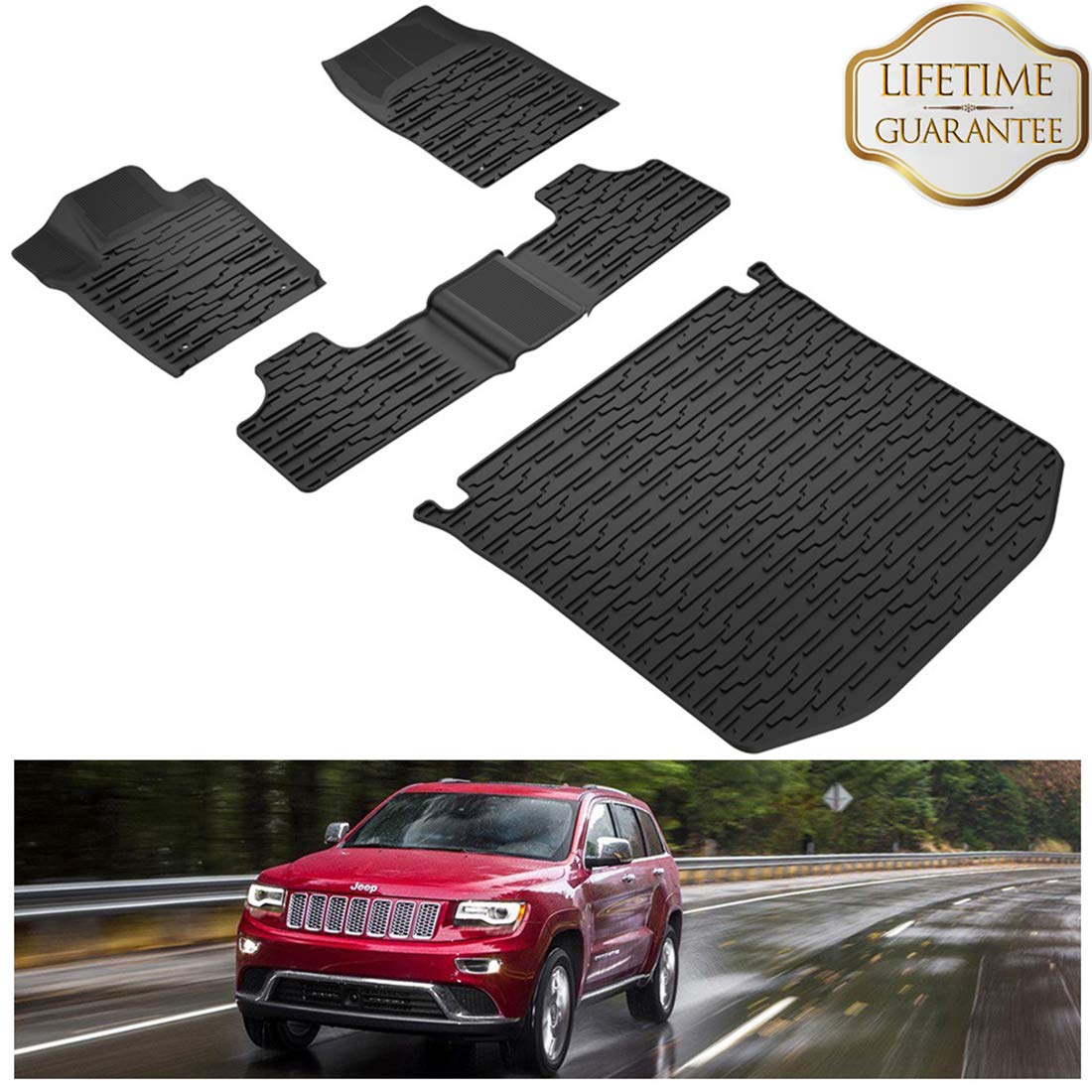 KIWI MASTER Floor Mats & Cargo Liners Set Compatible for 2013-2015 Jeep Grand Cherokee Front & Rear Black Floor Cargo Mat All Weather Protection Slush Mats by KIWI MASTER (Image #1)