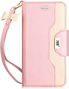 FYY Leather Case with Mirror for Samsung Galaxy S7, Leather Wallet Flip Folio Case with Mirror and Wrist Strap for Samsung Galaxy S7 Rose Gold