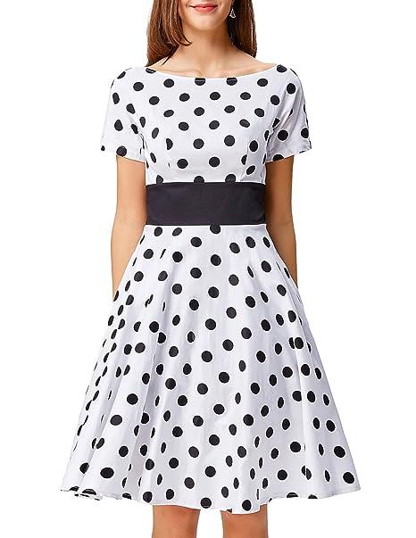 Women Summer Dress Polka Dot Knee Length Dress for Dancing Party White S  BP211-2 b4c7b784c216