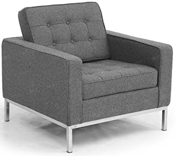 MLF Florence Knoll Style Sofa Armchair, Light Gray Cashmere Wool
