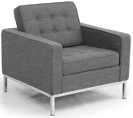Genial MLF Florence Knoll Style Sofa Armchair, Light Gray Cashmere Wool