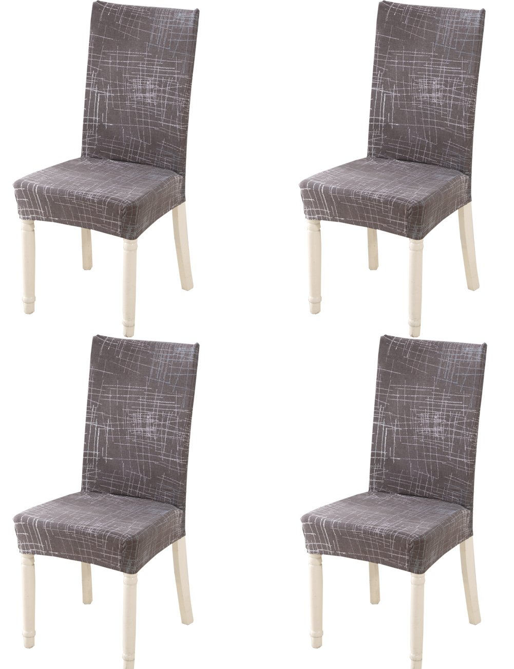 Chair Cover for Dining Chairs 4 Pieces Modern Print Stretch Wedding Seat Cover Dining Stool Chair Slipcovers (A) HengAi Style