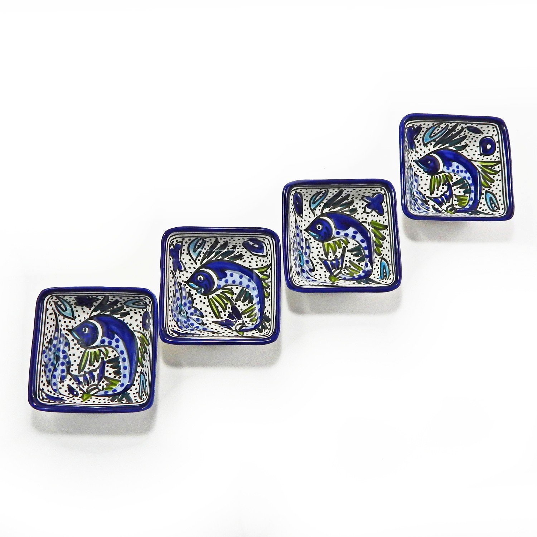 Le Souk Ceramique Square Sauce Dishes, Set of 4, Aqua Fish Design AF-30