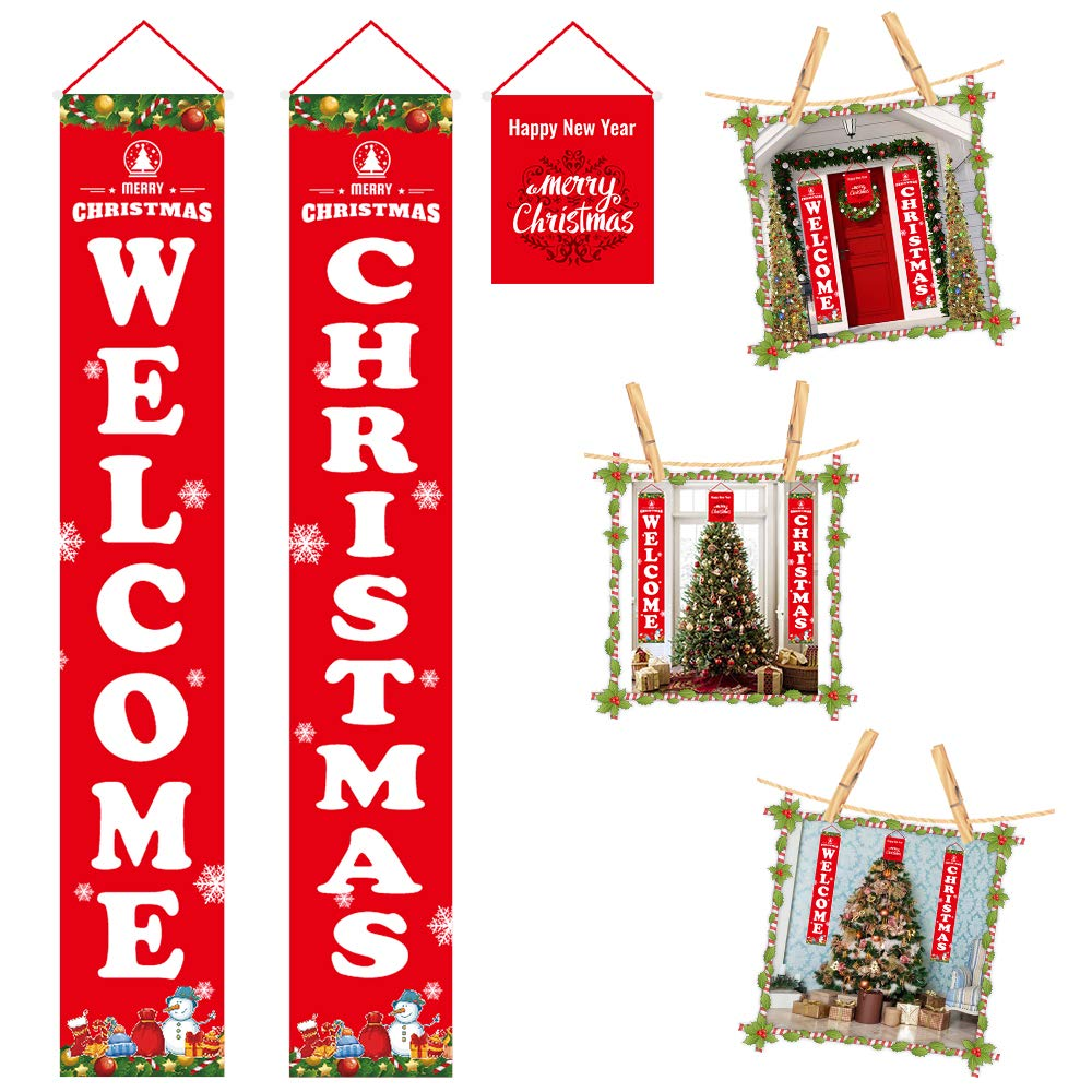 LOBKIN Christmas Porch Sign, Welcome and Merry Christmas Hanging Sign for Holiday Home Indoor Outdoor Porch Wall Christmas Decoration (Christmas(Red))